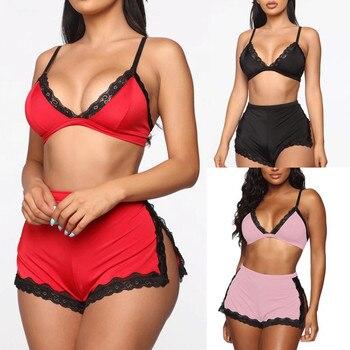 Sexy Women Lace Deep V-neck Lingerie Lace Bra Crop Tops High Waist Split Shorts Set Women Babydoll Nightwear Sleepwear Underwear 1