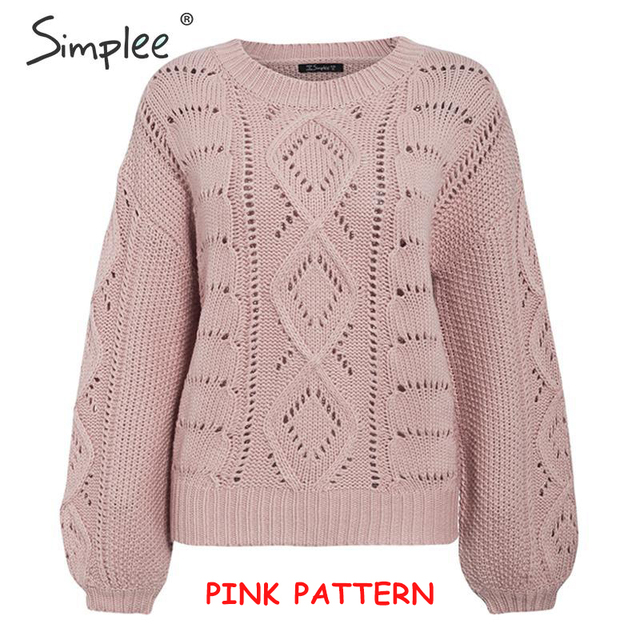 Knitted O-neck Lantern sleeve sweater 6