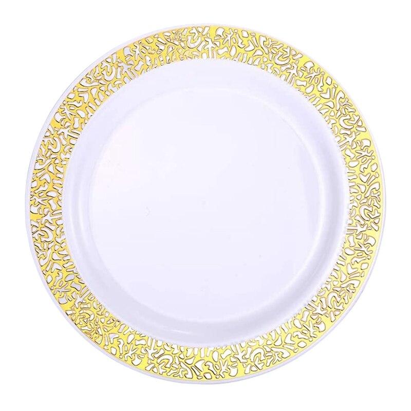 Placas plásticas descartáveis do ouro-placas plásticas da