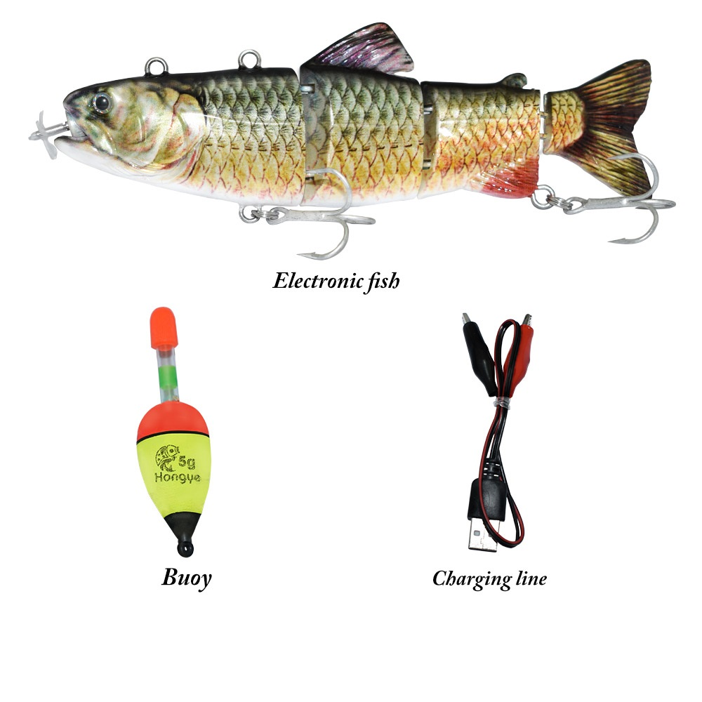 ODS Electric Lure Wobblers For Fishing 4-Segement Swimbait USB Rechargeable Lure Crankbait Flashing LED Light Fishing Lure