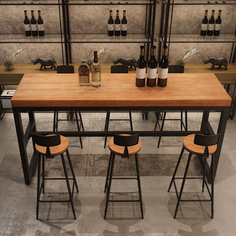 Nordic Solid Wood Long Table Coffee Bar Against Wall High ...