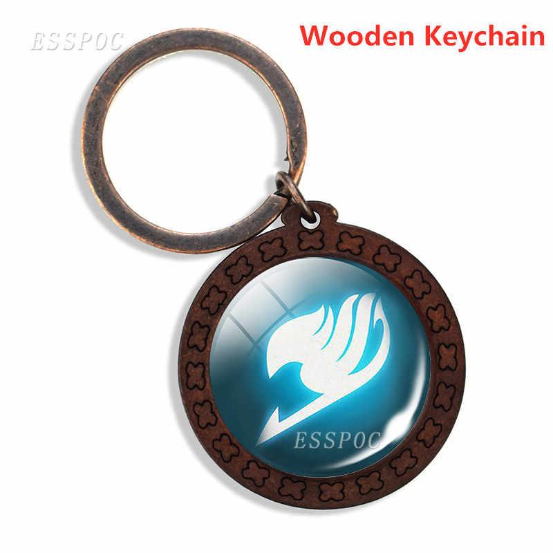 Argent/bois/cuir porte-clés fée queue porte-clés guilde Logo verre Cabochon Anime bijoux cadeau pour Anime Cosplay cadeaux