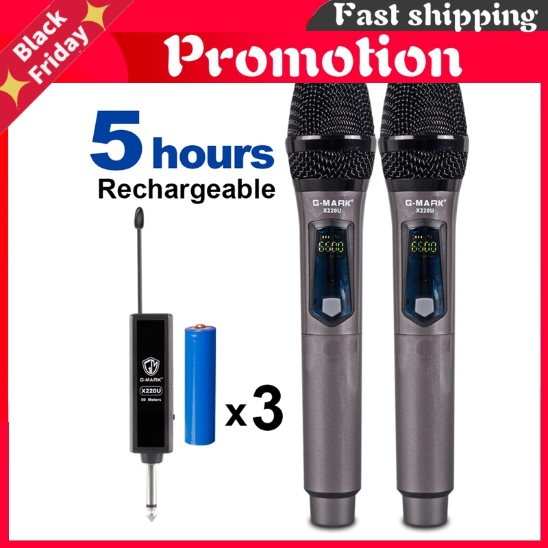 X220u Uhf Wireless Microphone Recording Karaoke Handheld With Rechargeable Lithium Battery Receiver