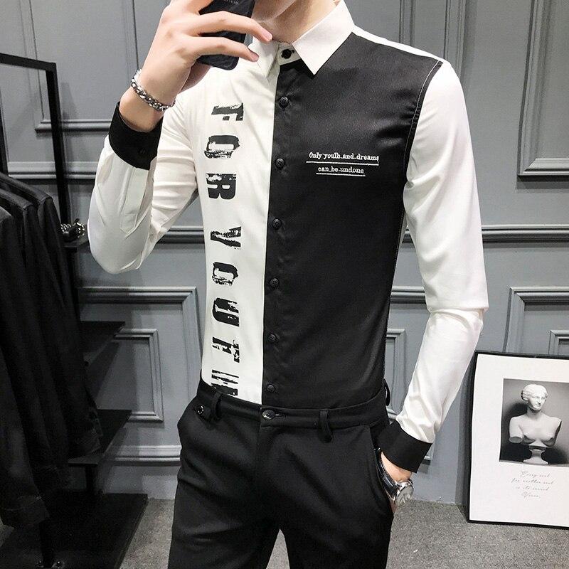 2020 NEW Patchwork Slim Fit Men Shirt Party Club Bar Streetwear Social Dress Shirt Camisa Homem Casual Long Sleeve Shirt Clothes