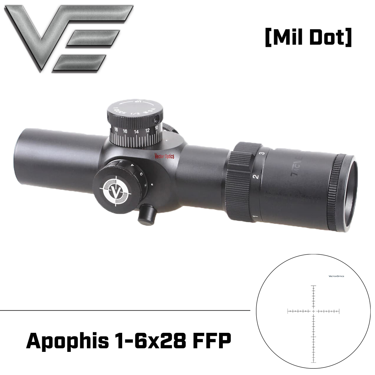 Vector Optics Apophis 1-6x28 FFP AR15 35 milímetros Tactical Riflescope Compact Rifle Scope MP Retículo MOA para Fotografar