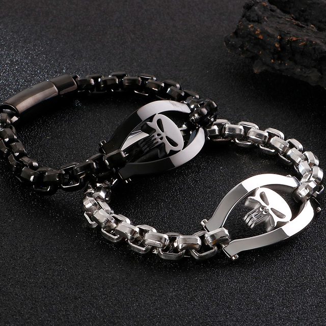 STAINLESS STEEL SKULL PUNISHER BRACELET (3 VARIAN)