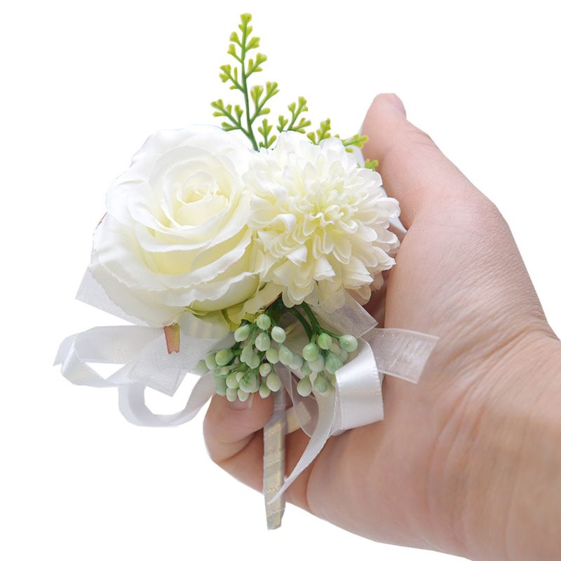 Handmade Bridal Groom Wedding Boutonniere Pin Artificial Rose Sunflower Fake Berries Bowknot Lapel Brooch Party Suit Decoration