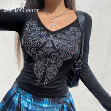 Rhinestone Printed Crop Top Women Ribbed Cotton T Shirt Long Sleeve Tops Harajuku Gothic V-neck Pullovers Vintage Shirt Iamhotty