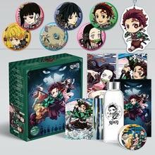 Dämon Slayer Kimetsu keine Yaiba Anime Wasser Tasse Geschenk Box Postkarten, Abzeichen, Poster Fans Sammlung Geschenk Anime Rund Um