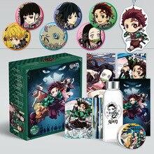 Demon Slayer Kimetsu no Yaiba Anime kubek wody pudełko pocztówki, odznaki, plakaty kolekcja dla fanów prezent Anime wokół