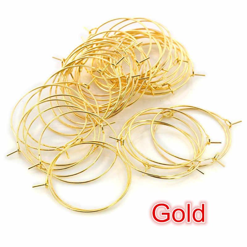 50 ชิ้น/ล็อต 20 25 30 35 mm KC Gold Silver สี Hoops ต่างหู Big Circle EAR Hoops ต่างหูสายสำหรับ DIY เครื่องประดับทำอุปกรณ์