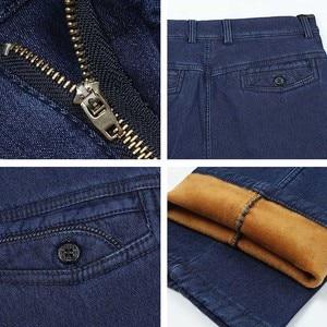 Image 5 - Big Size Classic Business Jeans Voor Mannen Herfst Winter Mannelijke Toevallige Hoge Kwaliteit Dikke Fleece Warme Elastische Denim Broek Maat 30 44