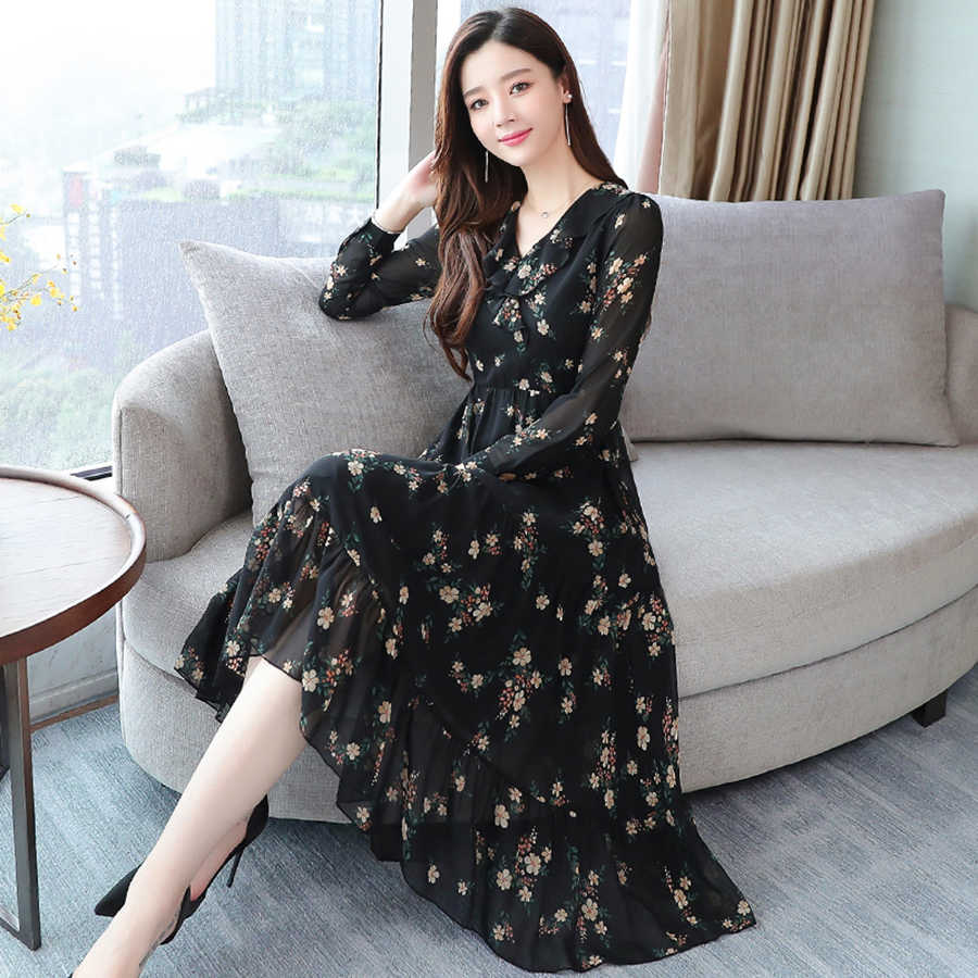 Летние женские черные винтажные цветочные шифон пляжный ветер корейское среднее длинное платье 2019 Элегантные женские S-5XL большого размера сексуальное богемное сексуальное платье с коротким рукавом взлетно-посадочно