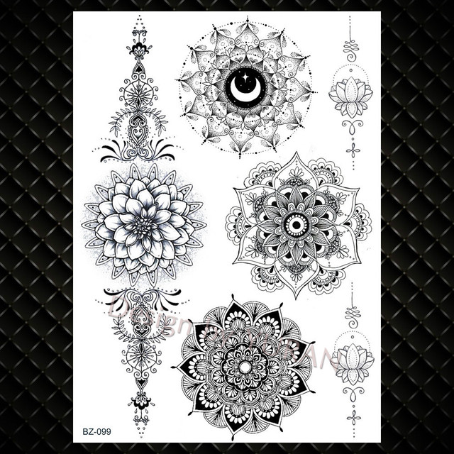 Women Girl Big Arm Owl Fake Tattoo Temporary Mandala Flower Henna India Tatoo Stickers Custom Black Turtle Tattoos Girls
