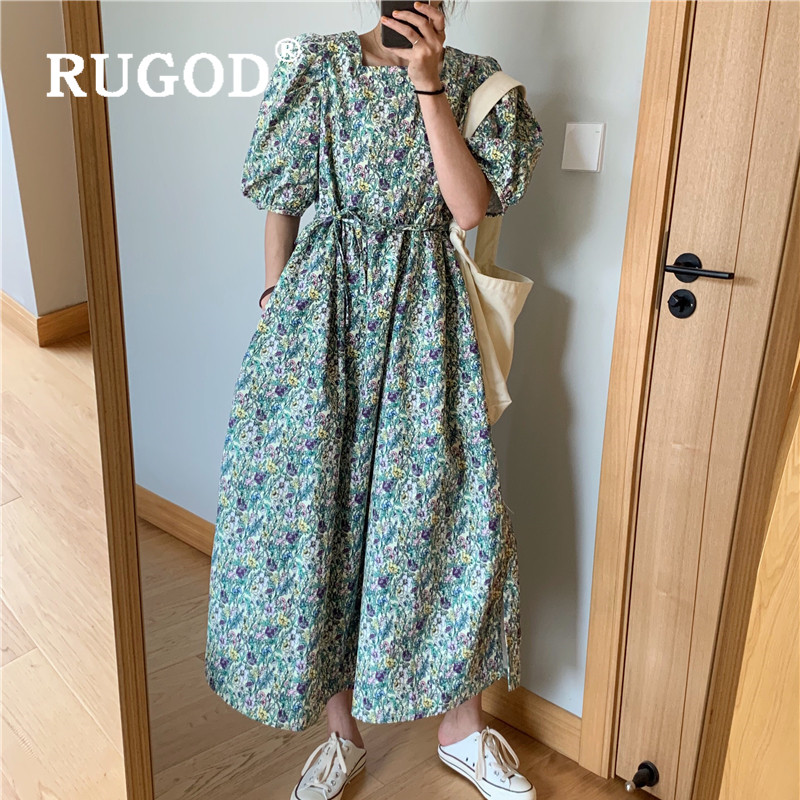 Summer Women Dress Vintage Straight Floral Print Mid-long Dress Bandage Button Puff Sleeve Blocking Sundress 2020 New