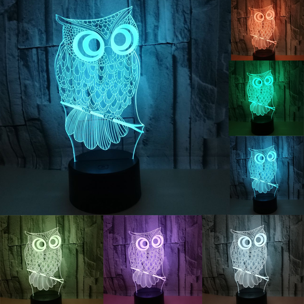 3D Illusion Night Owl Night Light Lamp, 7 Color Change Creative Decorative Lamp, Touch On/off,Power By USB Or AA Batteries