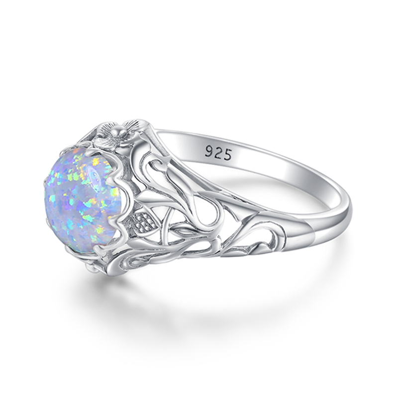 Image 3 - Szjinao Opal Ring For Women 925 Sterling Silver Vintage Gemstone Rings Fower Fascination Luxury Brand Jewelry Wedding Gift 2020ring fashionring forring for sale -