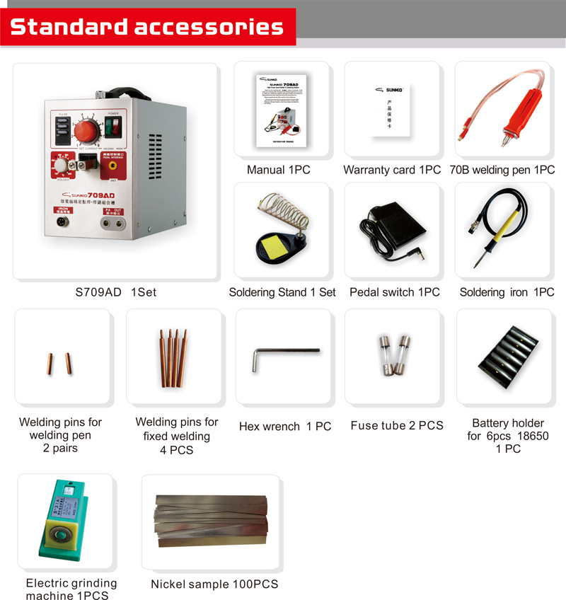 Tools : SUNKKO 709AD with 70B lithium battery induction automatic spot welding machine 3 2KW high power maximum welding thickness 0 35mm