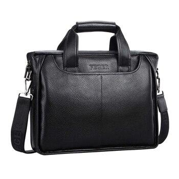 FEGER Men's Genuine Leather Shoulder Bag Brand Men Shoulder Bag Business Handbag Laptop Briefcase Male Crossbody Messenger Bags
