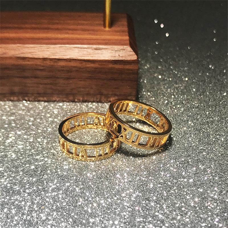 YUN RUO кольцо с римскими цифрами для влюбленных, кольцо розового и золотистого цвета женский подарок, Модная бижутерия из титановой стали, ник...