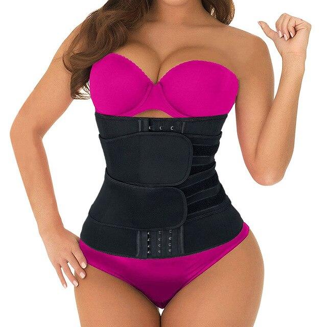 Mulheres cintura trainer cinto duplo sauna workout neoprene cintura cincher abdominal trimmer cinto ganchos de perda de peso correias mais tamanho
