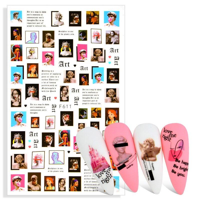 1 шт. Хепберн Слайдеры для ногтей надписи наклейки с буквенным принтом наклейка для человеческого лица Маникюр украшение для ногтей обертка