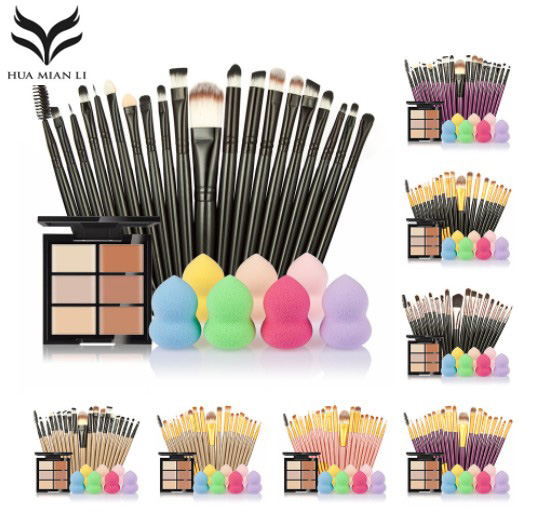 Makeup Brushes Set +6 Colors Concealer Palette Maquiagem Puff Face Contour Concealer Cosmetic Make Up Tools Brushes For Make-up