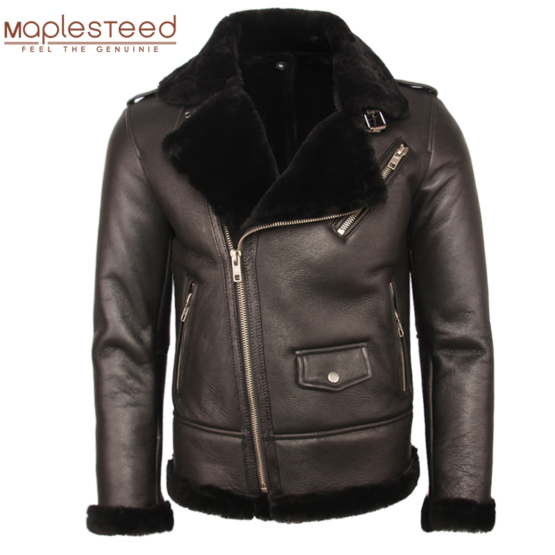 100% Natural Shearling Coat Men Thick Fur Coat Winter Mens Leather Coat Warm Winter Clothing Size 4XL Free Shipping M362