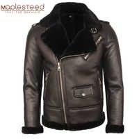 100% natürliche Lammfell Mantel Männer Dicken Pelzmantel Winter Herren Leder Mantel Warme Winter Kleidung Größe 4XL Freies Verschiffen M362