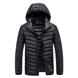 Image 5 - 2019 Autumn Mens Ultralight White Duck Down Hooded Jacket Male Windproof Waterproof Parkas Coats Ultra Light Stand Collar XCZ34