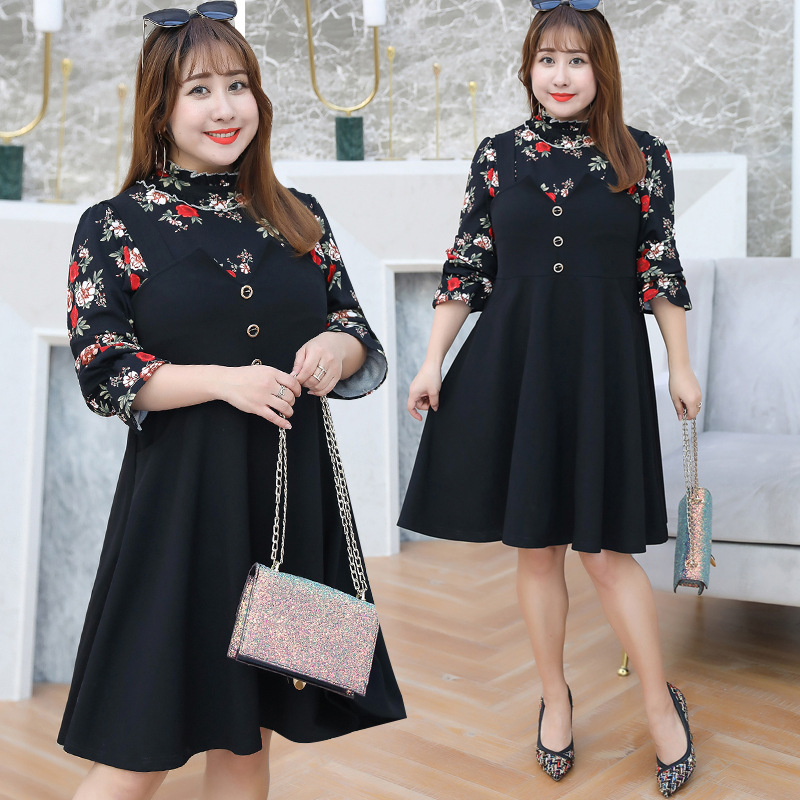 2019 Autumn Clothing Plus-sized Extra Large WOMEN'S Dress Large GIRL'S Floral Set Manufacturers Direct Supply A Generation Of Fa