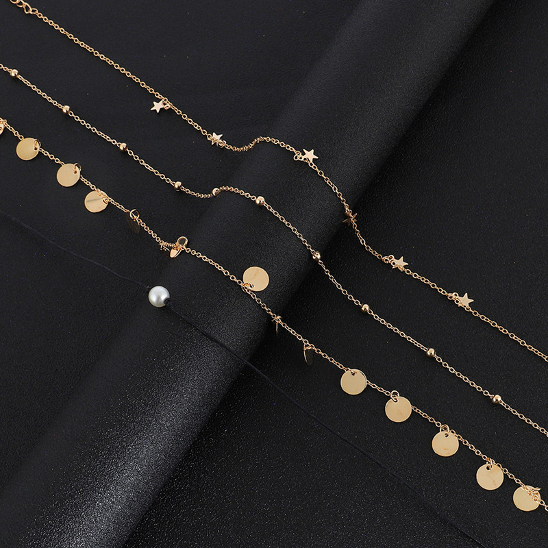 Boho Chocker Women Gold Chain Star Pearl Round Coin Choker Necklaces For Women Trendy Short Necklace Cillier Femme
