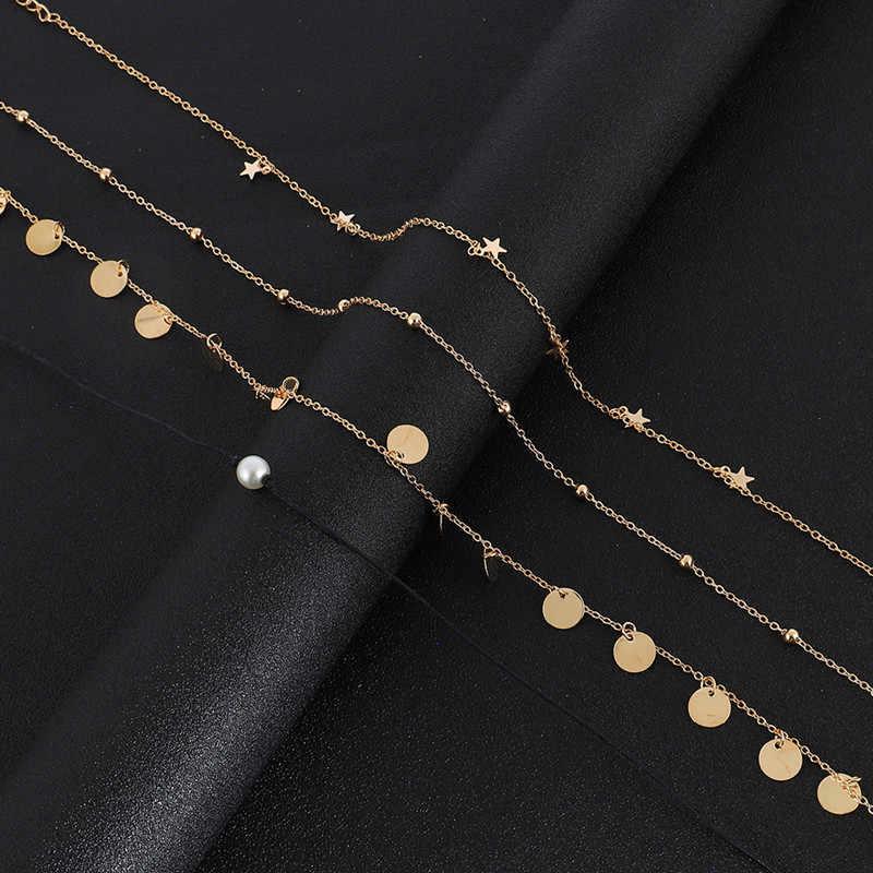 Boho Choker damski złoty łańcuszek gwiazda perła okrągłe monety Choker naszyjniki dla kobiet Trendy krótki naszyjnik Cillier Femme