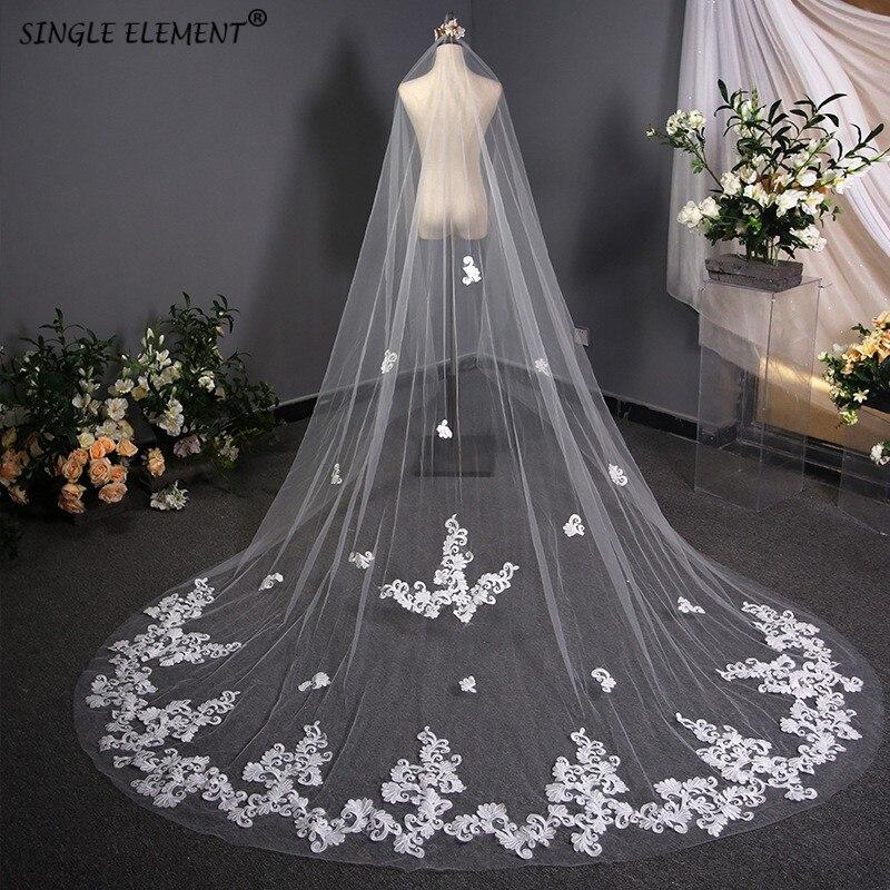 3m White Length Bridal Wedding Accessories Lace Applique Velo De Novia Wedding Veil
