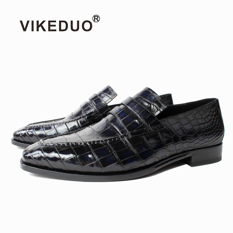 Vikeduo 2019 Summer Fashion Men Loafers Shoes Plaid Crocodile Leather Shoe Male Casual Vintage Gray Wedding Party Office