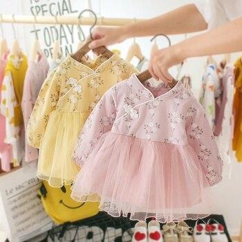 цены 0-3Y Spring Girls Round Neck Mesh Stitching Gauze Princess Flower Cute Sweet Long Sleeve Dress