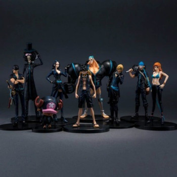 9pcs One Piece Gold City 9 Anime Figure Black Clothes Theater Luffy Sauron Choba Sanji Frank Action Figure children toys 8-20cm