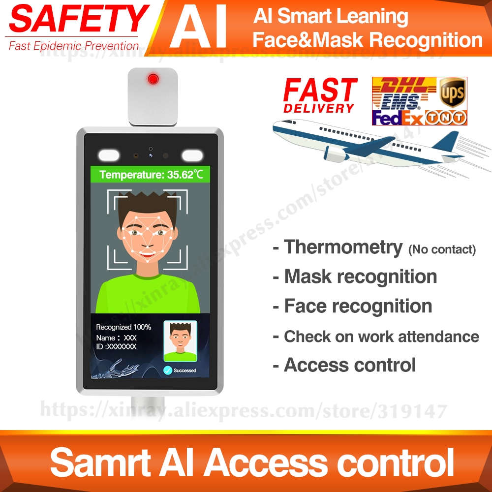 Samrt AI Face Recognition Temperature Measuring Integrated Machine, Access Control System, Gate Infrared Therminal, By Face ID