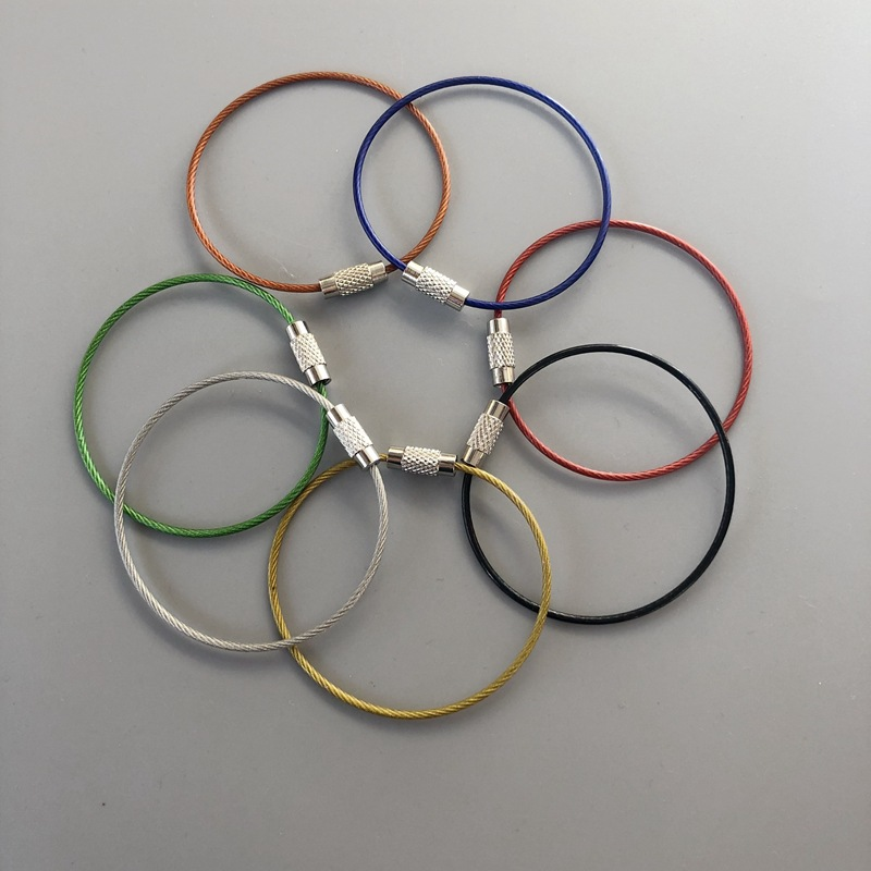 5pcs EDC Stain Steel Wire 150mm*15mm Keychain Ring Key Keyring Circle Rope Cable Loop Outdoor Camp Luggage Tag Screw Lock Gadget