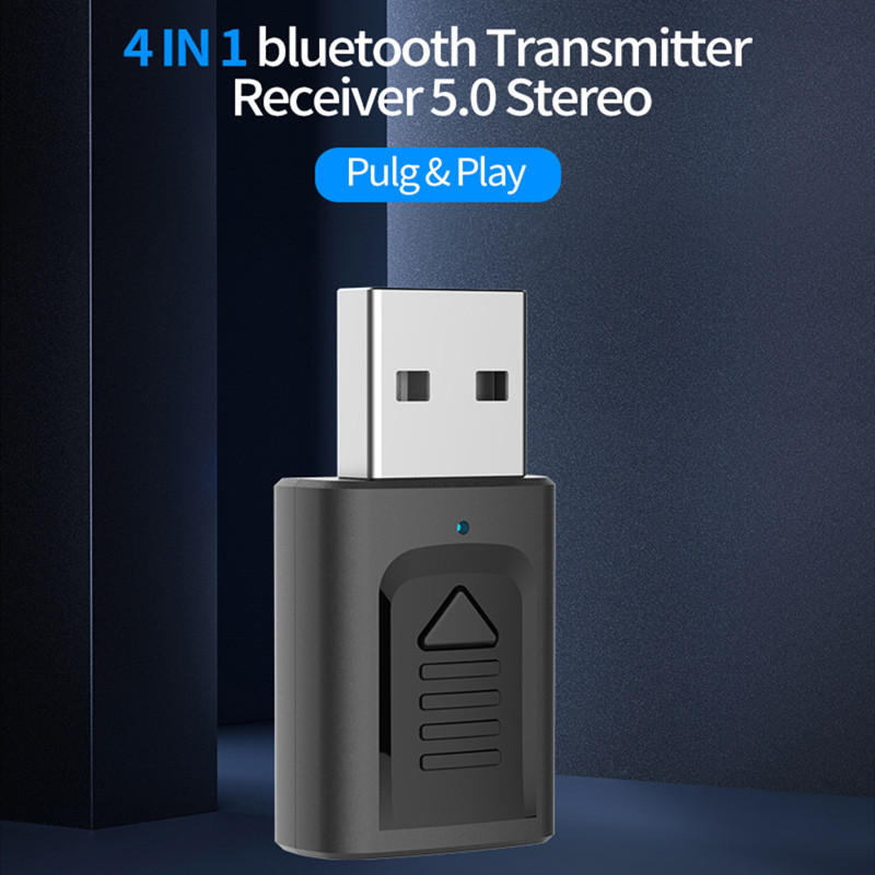 Wireless Adapter <font><b>4in1</b></font> Bluetooth 5.0 Mini Stereo Bluetooth 3.5mm <font><b>Cable</b></font> For TV Computer Car Kit Audio Receiver Transmitter image