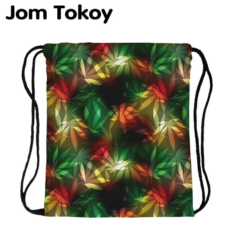 JomTokoy New Fashion Women Drawstring Backpack Tree Leaf Printing Travel Softback Women Mochila Drawstring Bags Skd29072