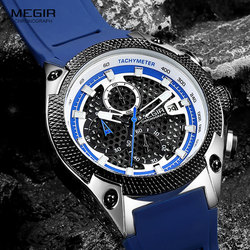 MEGIR Luxury Watches Men Blue Silicone Strap Quartz Wristwatch Man Top Brand Military Chronograph Watch Relogios Masculino 2127
