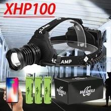 1000000LM супер мощный перезаряжаемый налобный фонарь 18650 Xhp100 светодиодная фара Usb Xhp90 рыболовная налобная лампа фонарик с зумом светодиодный на...