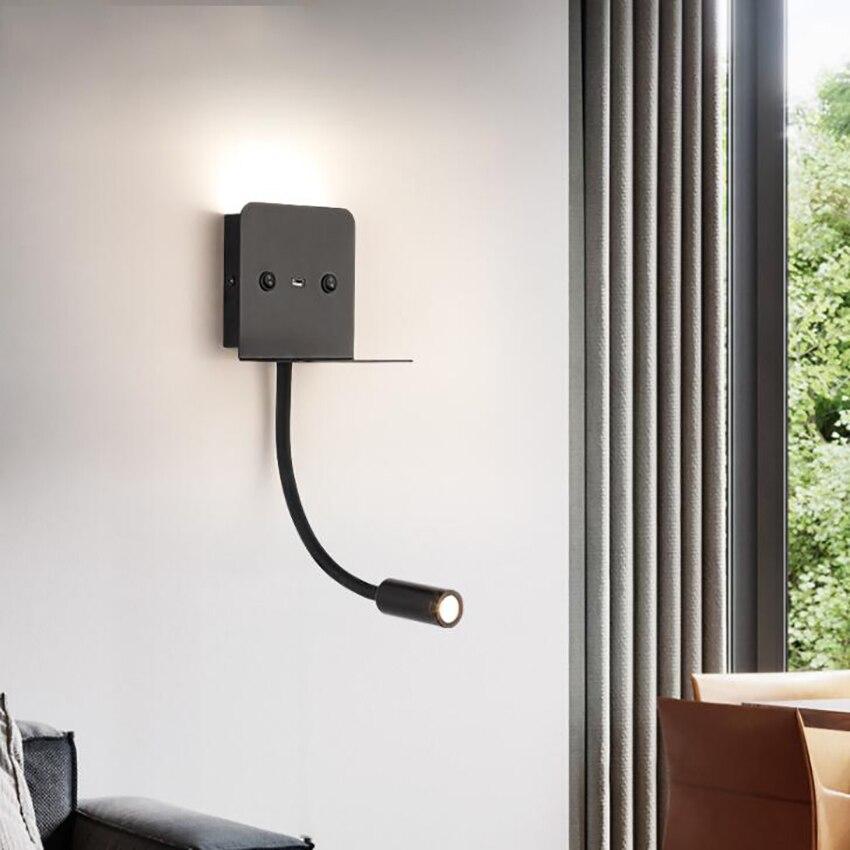 Прикроватный настенный светильник, светодиодный настенный светильник для чтения с регулируемой ручкой, usb-порт, белый/теплый белый светиль...