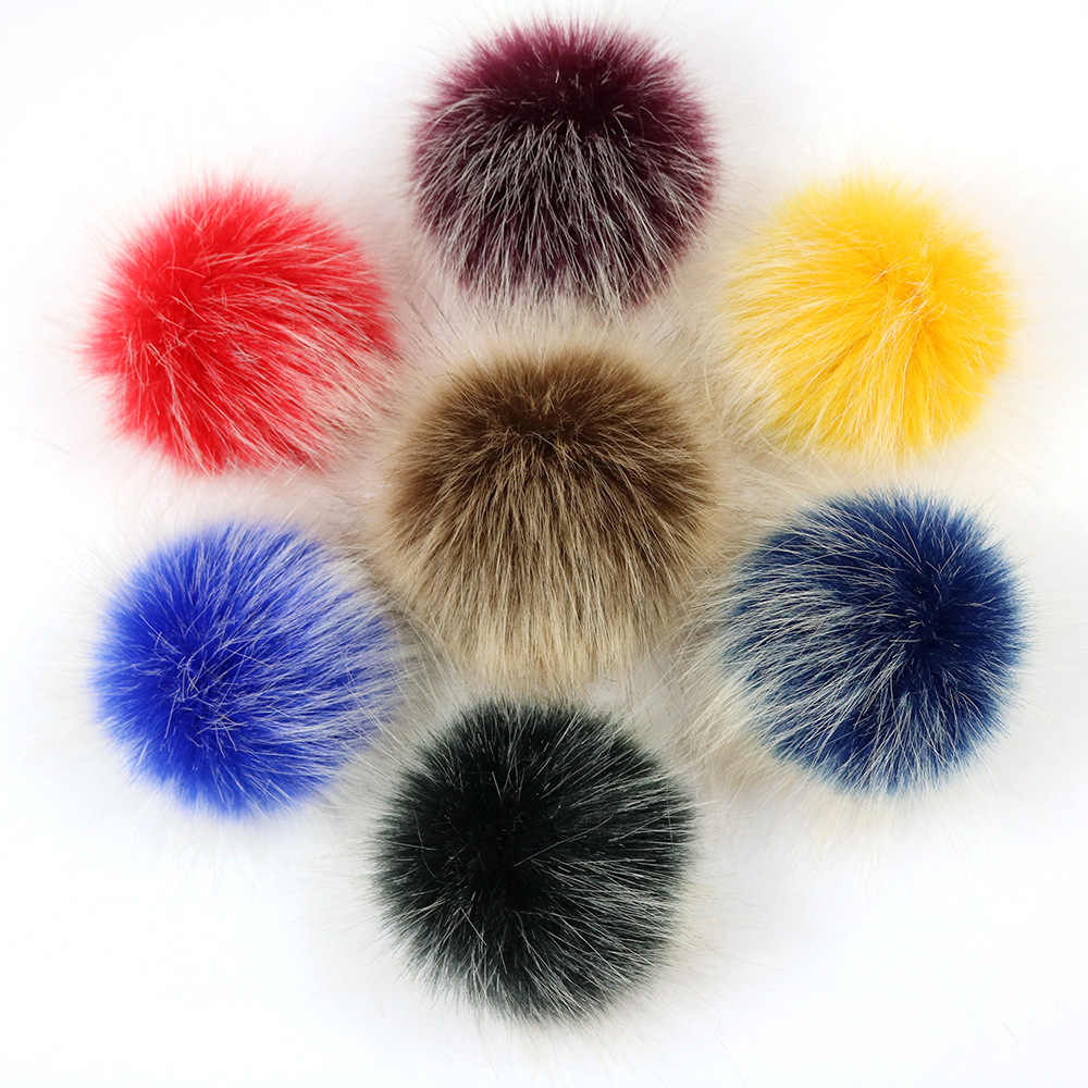 8/10cm Raccoon Fur Pompom Faux Fur Pompon with buckle For Women Hat Pom Poms Fur Balls for Knitted Caps Craft Accessories