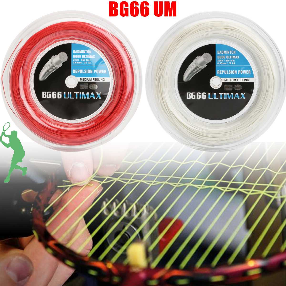 BG80 200m Durable Badminton Elastic Racket String Coil High Polymer Reel White/Red String
