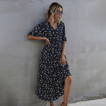Spring Summer Half Sleeve Print Long Dress For Women 2021 New Casual V Neck High Waist Slim Ladies Temperament Maxi Dresses