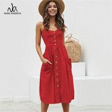Elegant Button Women Dress Polka Dots Red Cotton Midi Dress 2019 Summer Casual Female Plus Size Lady Beach vestidos