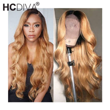 Wig Human-Hair Body-Wave Brazilian Lace-Wig Remy Black Women T-Part 13x1 for Ombre