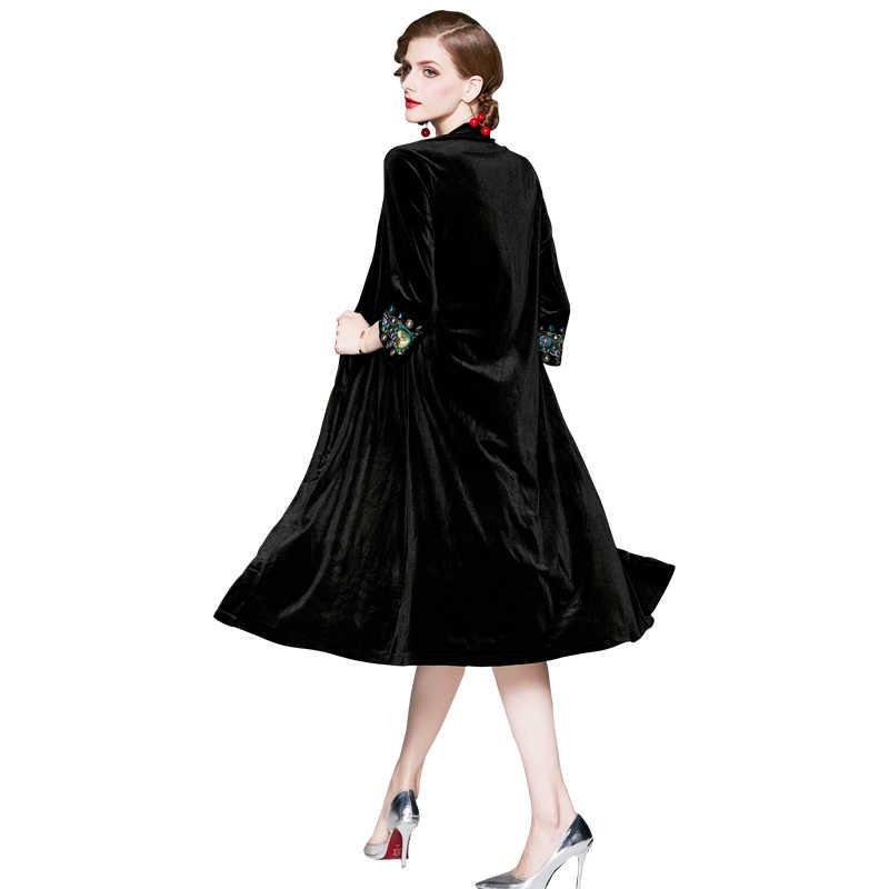 Размер, винтажное Женское шерстяное длинное пальто, вышивка, бархат, выше колена, Плюс шаль-пальто, верхняя одежда, черный цвет, 385